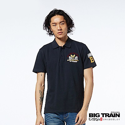 BIG TRAIN 軍事潮流POLO衫-男-深藍