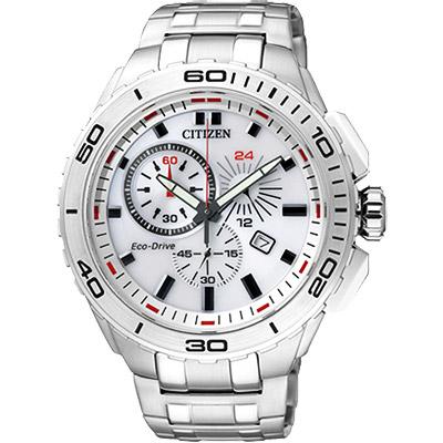 CITIZEN Eco-Drive 競速賽車手計時腕錶(AT0960-52A)-白/42mm