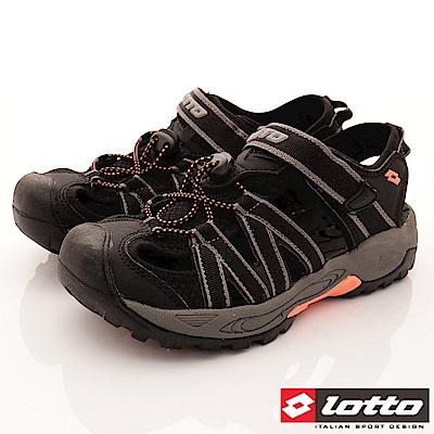 Lotto樂得-排水護趾涼鞋-SI360黑(女段)