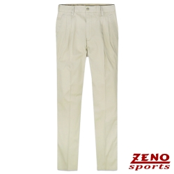 ZENO 細直紋輕棉打摺休閒褲‧米白32~42