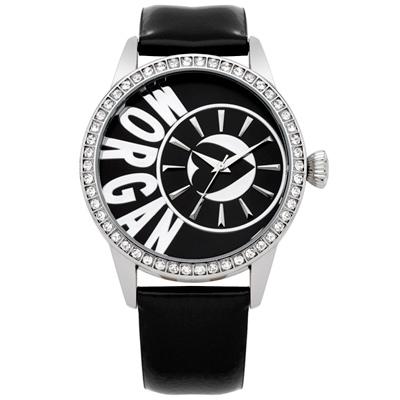 MORGAN 新穎風格晶鑽時尚腕錶-銀x黑/40mm