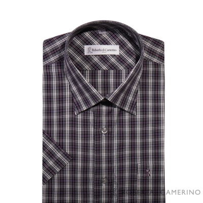 ROBERTA諾貝達 台灣製 雅痞格紋 短袖襯衫 紫色