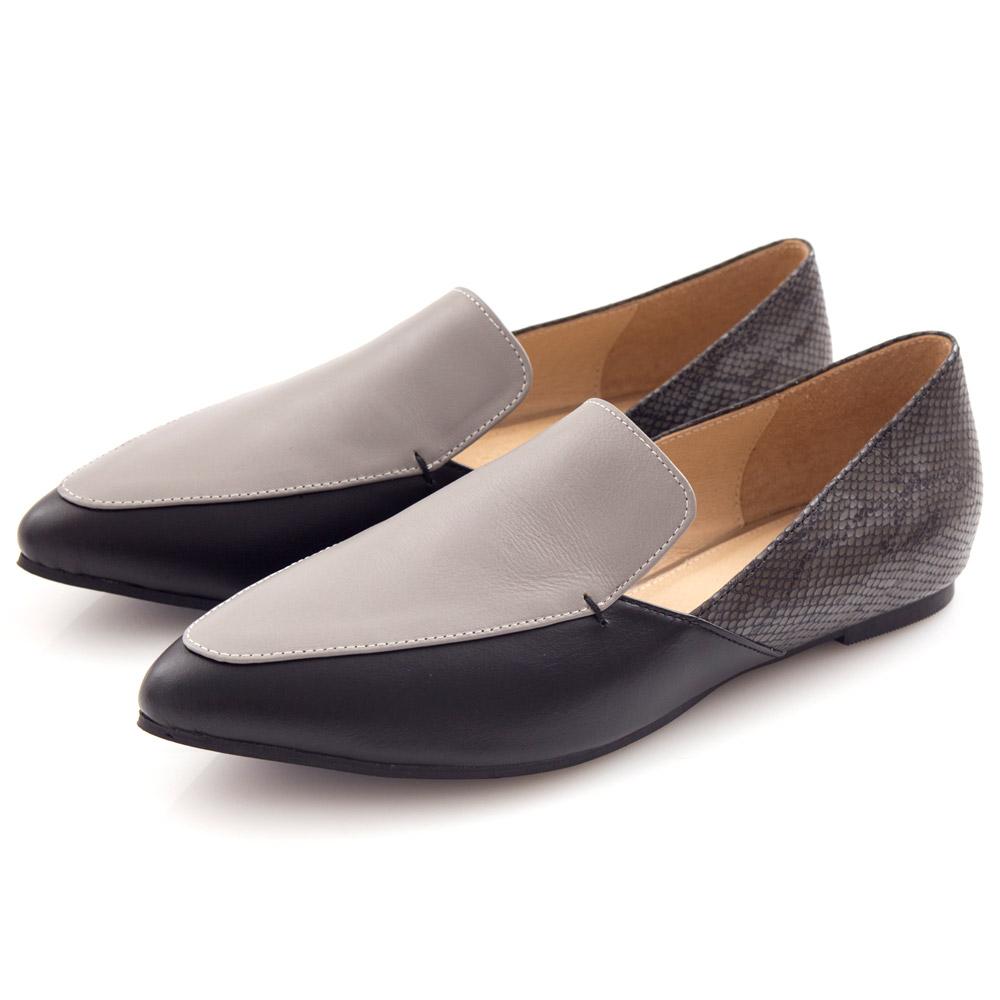 G.Ms. MIT系列-羊皮尖頭撞色拼接蛇紋樂福鞋-名品黑