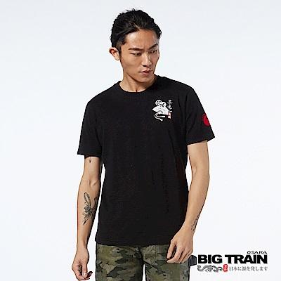 BIG TRAIN 日式小圖騰圓領短袖男T-男-黑色