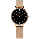 Daniel Wellington 經典小巧米蘭編織不鏽鋼手錶-黑x鍍玫瑰金/28mm