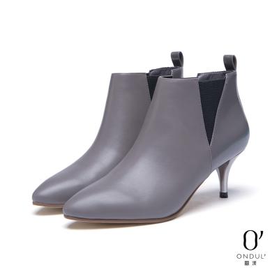 達芙妮x高圓圓-圓漾系列-短靴-三角拼接銀色細中跟踝靴-灰