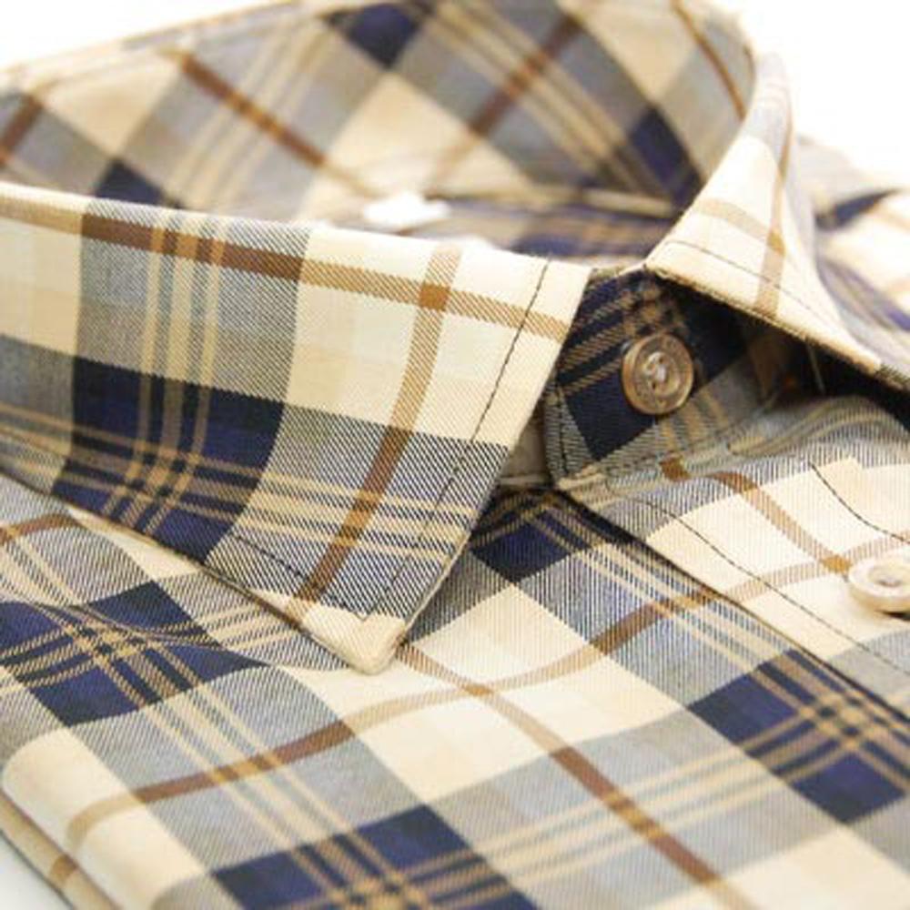 【金安德森】經典卡其色大格紋窄版長袖襯衫