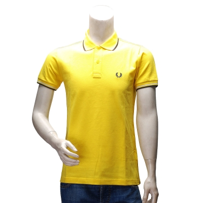 FRED PERRY 經典刺繡LOGO素面雙線立領短袖POLO衫(黃-40號)