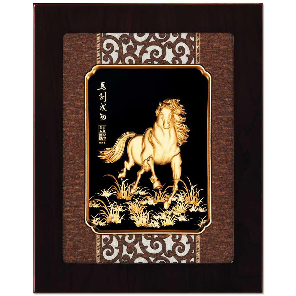 鹿港窯-立體金箔畫-馬到成功(框畫系列27x34cm)