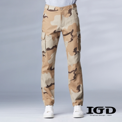 IGD英格麗-經典卡其迷彩多功能口袋設計工作長褲