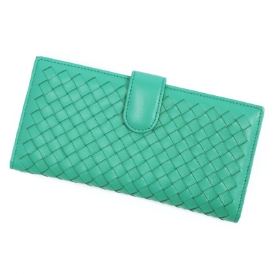 ANNA DOLLY 羊皮編織長夾 Leather系列 摩登綠