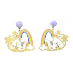 Les Nereides N2  神話獨角獸系列 夢幻彩虹橋 漫步雲海星辰耳環耳針式