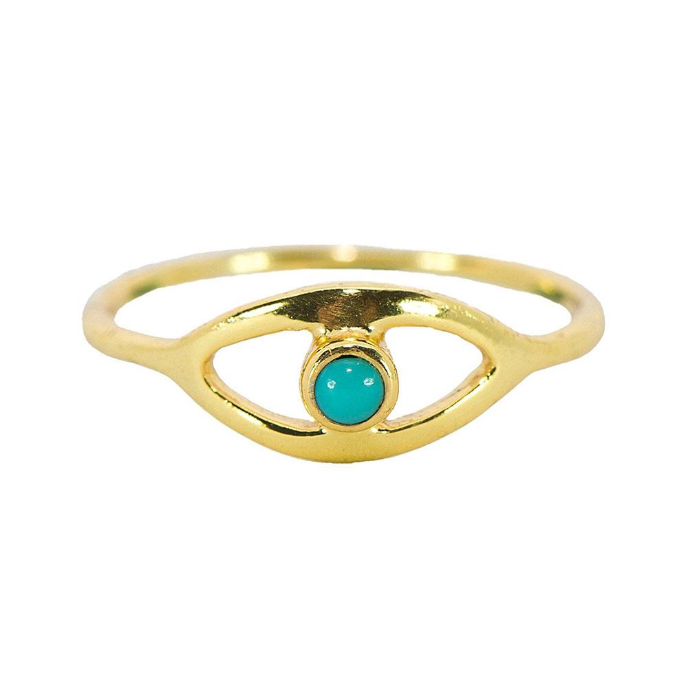 Pura Vida 美國手工 綠松石之眼 金色戒指