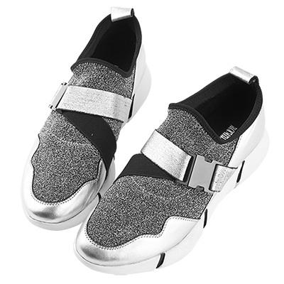 Robinlo&Co. 金屬太空感真皮襪子運動鞋 銀