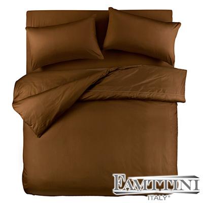 義大利Famttini-典藏原色 單人三件式精梳棉被套床包組-咖啡