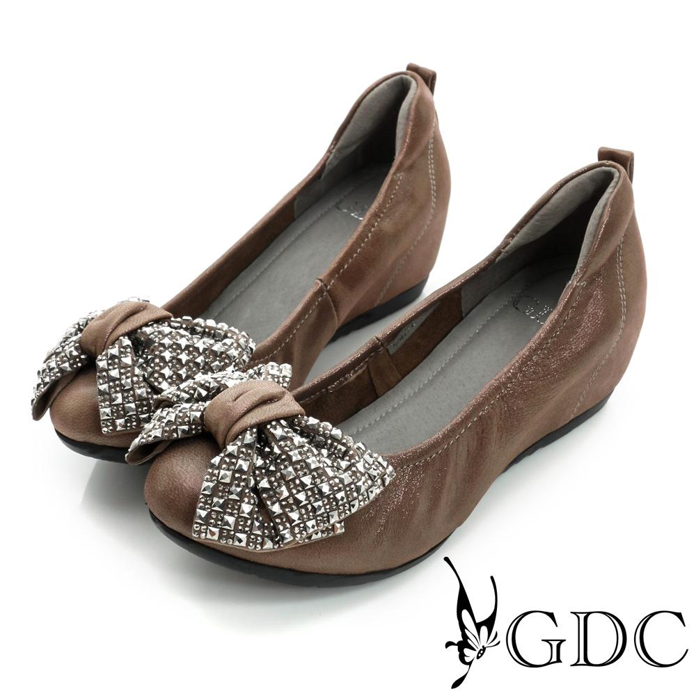 GDC百搭-蝴蝶水鑽內增高真皮平底娃娃鞋-槍灰色