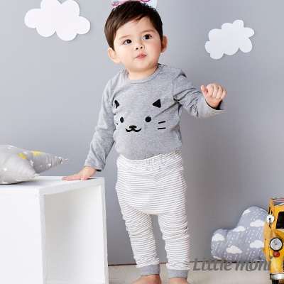 Little moni 純棉家居系列條紋長褲 灰色
