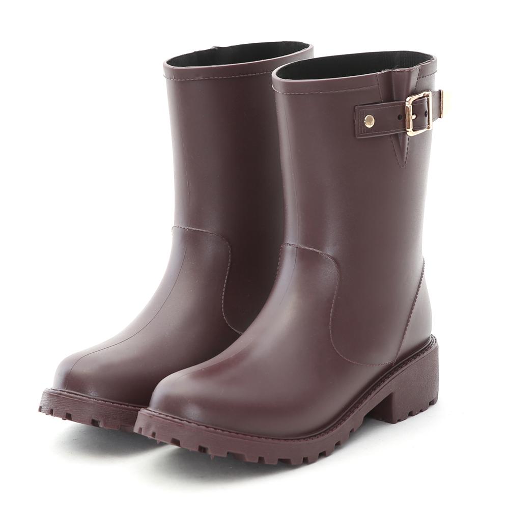 D+AF 人氣搭配‧質感金屬釦環中筒雨靴*酒紅