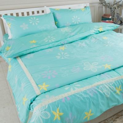 米夢家居-台灣製造-100%精梳純棉印花床包+兩用被套四件組-花籐小徑-雙人加大6尺