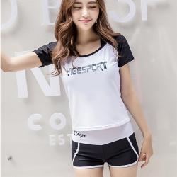 Biki比基尼妮泳衣,黑白泰西短袖泳衣三件式泳衣(M-XL)