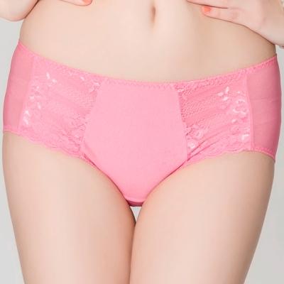 思薇爾 花優系列M-XL蕾絲低腰平口內褲(朝霞粉)