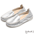 DIANA 超軟Q--經典莫卡辛束口閃爍舒適懶人鞋-銀