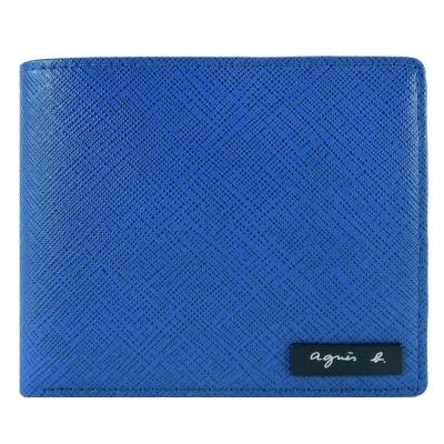 agnes b. VOYAGE 鐵牌雙色防刮短夾(藍黃)(零錢袋)