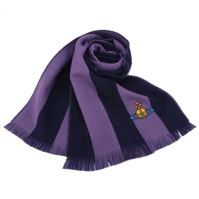 Vivienne Westwood 行星LOGO雙色條紋羊毛圍巾-紫色
