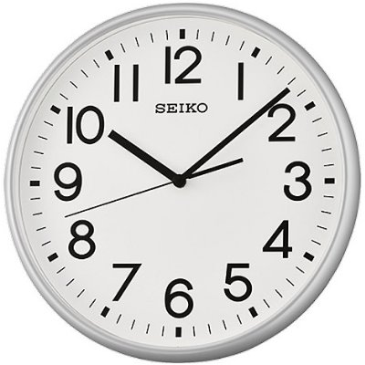 SEIKO 日本精工 設計風 滑動式秒針 靜音掛鐘 時鐘(QXA677S)-銀框/35cm