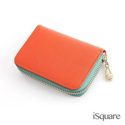 iSquare-韓國同步真皮卡包系列-貝菈-橘