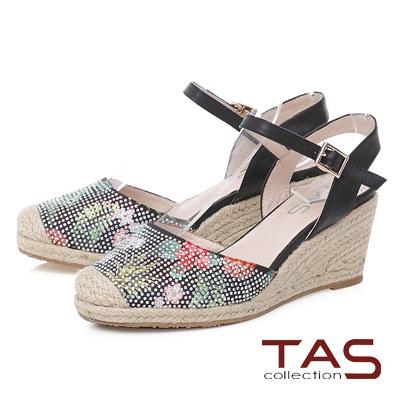 TAS 鳳梨水鑽草編楔型涼鞋-氣質黑