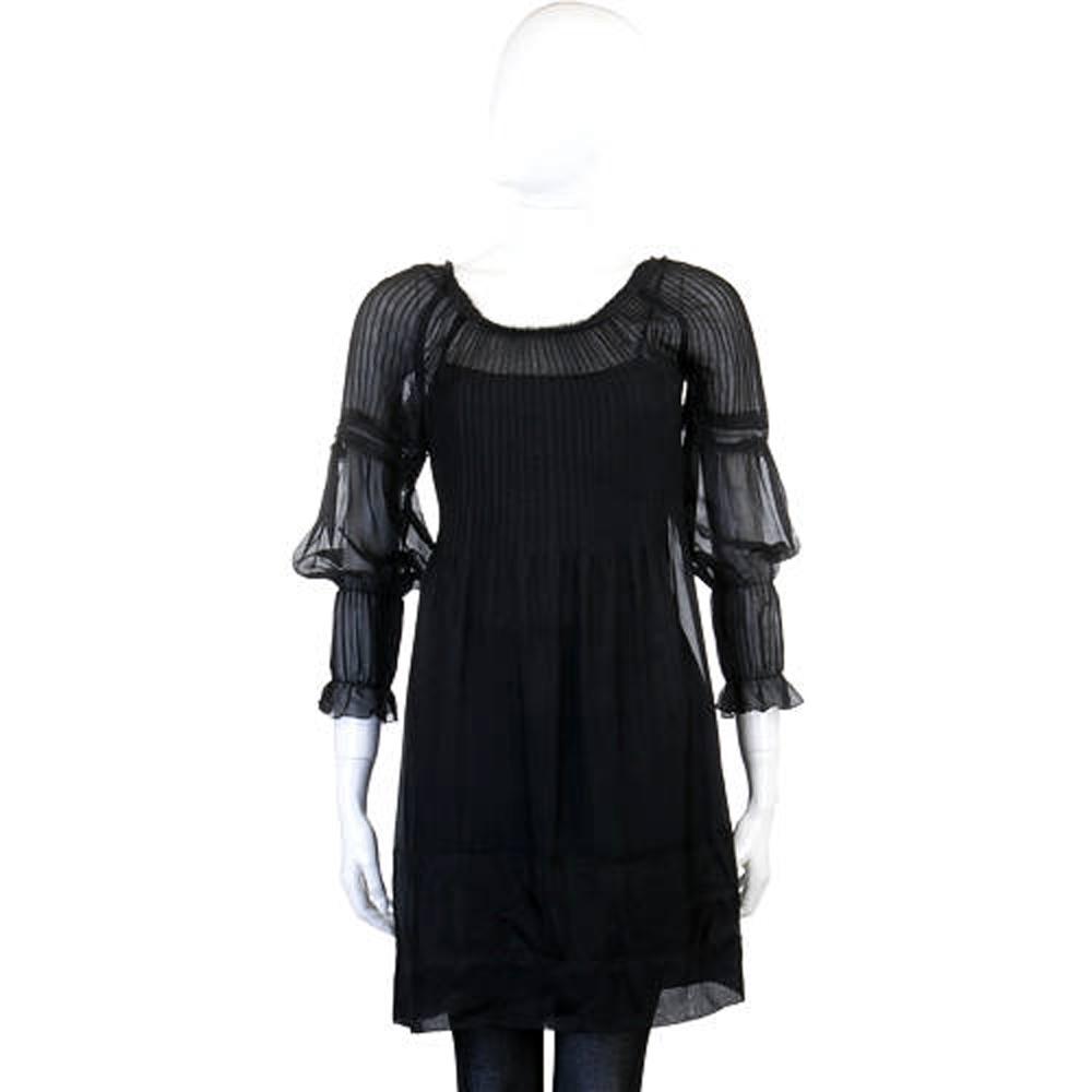 PHILOSOPHY 黑色抓折紗質七分袖洋裝