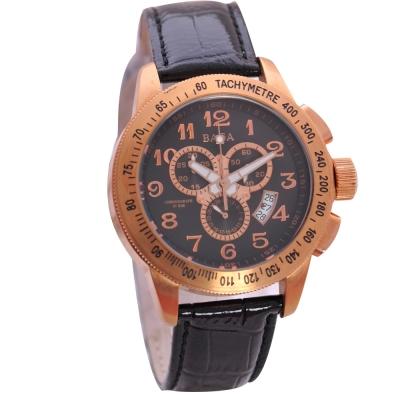 BAGA 限量玫瑰金色計時款腕錶-黑/46mm