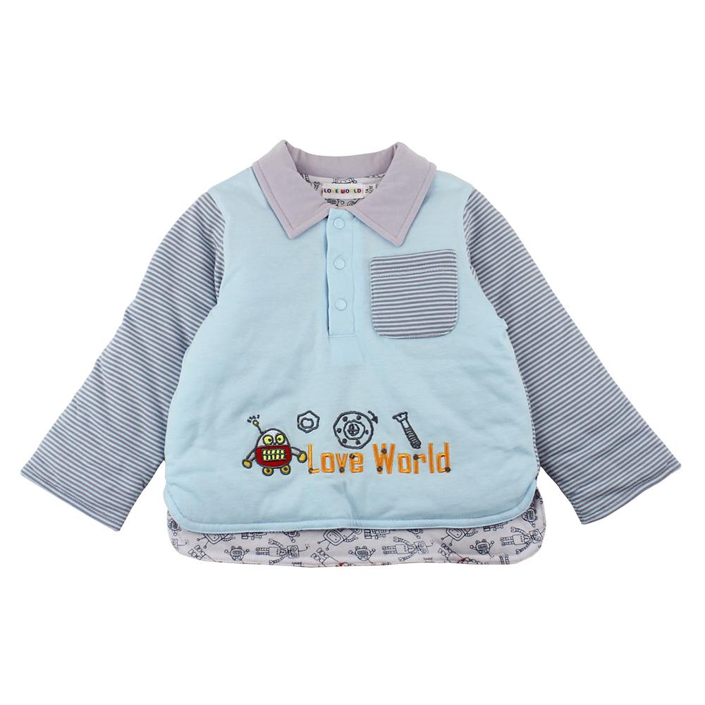 愛的世界 機器人純棉鋪棉兩面穿上衣/4~6歲