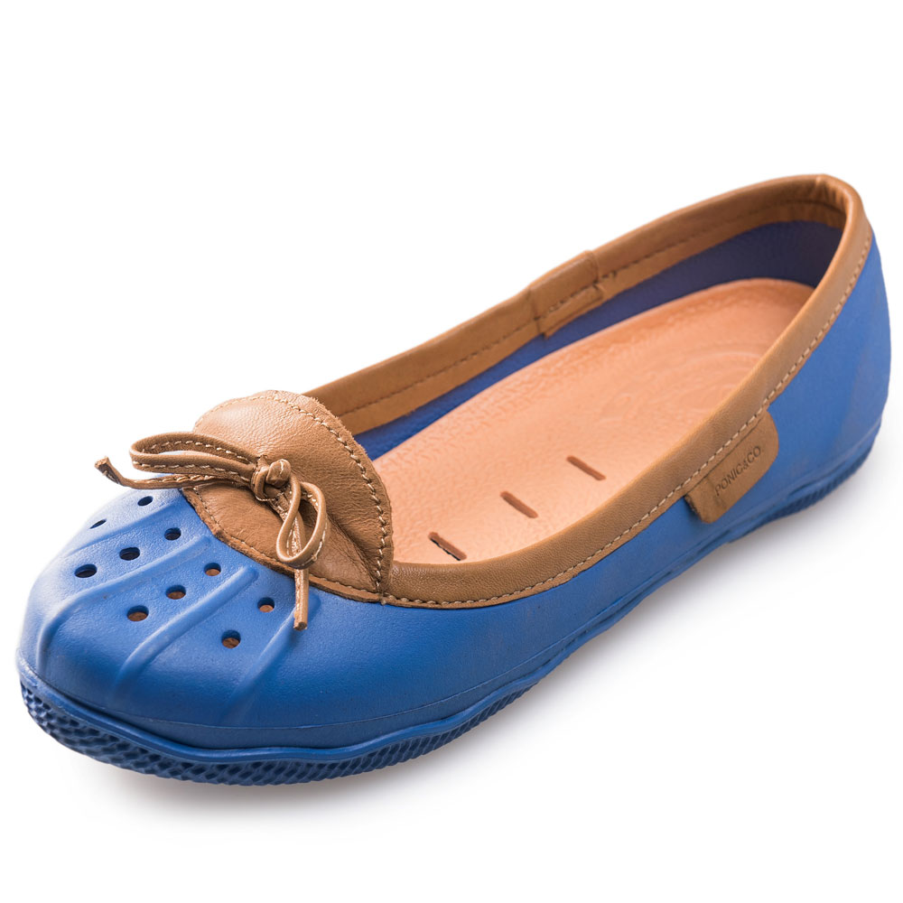 (女)Ponic&Co美國加州環保防水真皮滾邊娃娃鞋-藍色