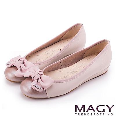 MAGY 甜美混搭新風貌 蝴蝶結水鑽牛皮娃娃鞋-粉紅
