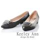Keeley-Ann質感壓紋金屬釦OL全真皮尖頭低