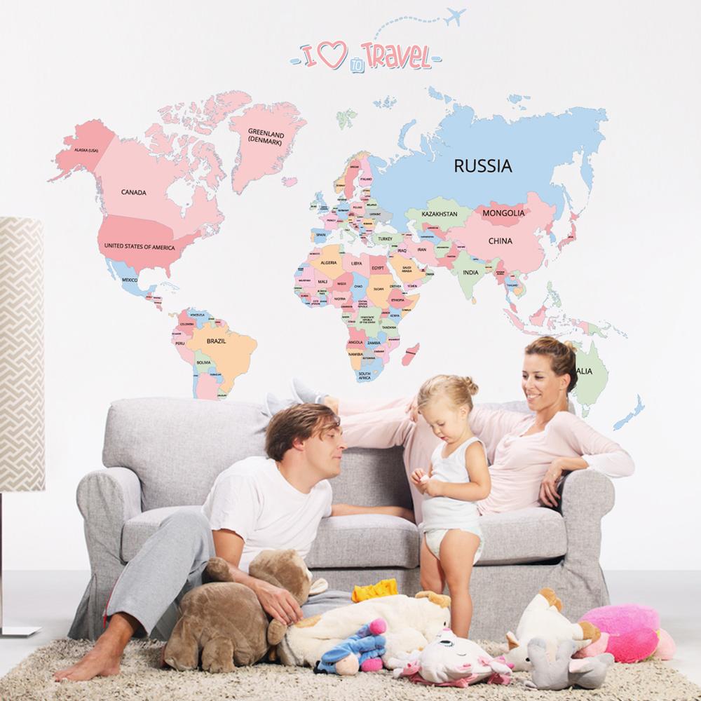 時尚壁貼 - 彩色世界地圖