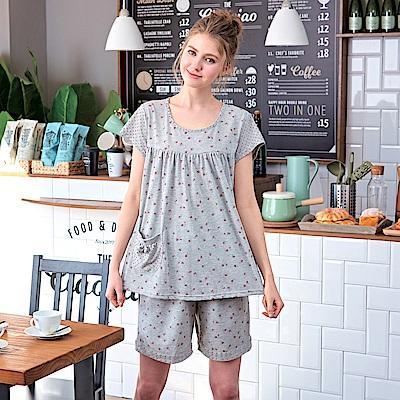 睡衣 碎花灰點點短袖兩件式睡衣(R77026-6灰點點)台灣製造 蕾妮塔塔