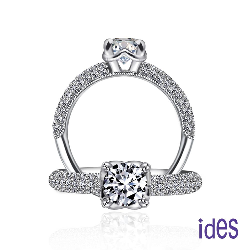 ides愛蒂思 GIA認證1克拉設計款F/VS2八心八箭完美3EX車工鑽石戒指/典雅