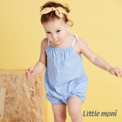 Little moni 自然女孩格紋連身裝 道奇藍