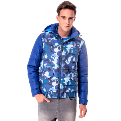 【hilltop山頂鳥】男款超撥水保暖蓄熱羽絨印花短大衣F22MU7藍迷彩
