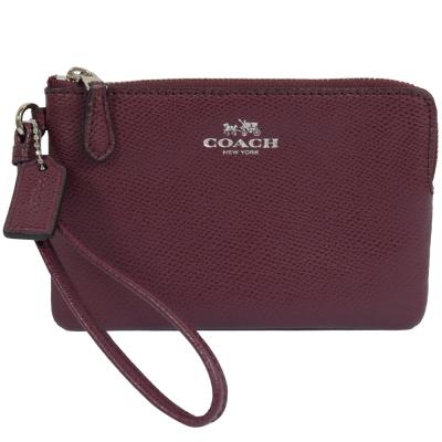 COACH-馬車LOGO烙印防刮牛皮零錢包-手拿包-暗紫