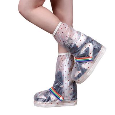 防水 雨鞋套 -長筒 小圓點 縮口 綁帶款-急速配