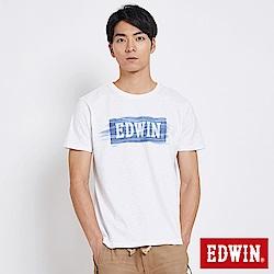 EDWIN 築地系列貓鬚洗色LOGO短袖T恤-男-白色