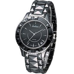 Diadem 黛亞登 精彩切割造型時尚腕錶-黑/40mm