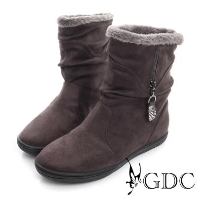 GDC溫暖-兩穿真皮絨面拉鍊中筒靴-深灰色