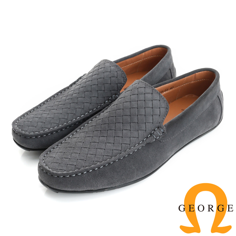 GEORGE 喬治-真皮編織樂福鞋休閒鞋(男)-灰色