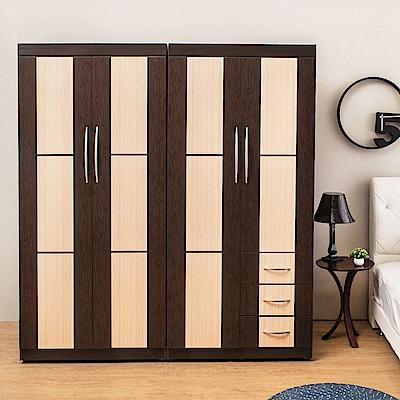 Birdie南亞塑鋼-6尺四門三抽方塊直飾條塑鋼衣櫃組合-180x60x196cm