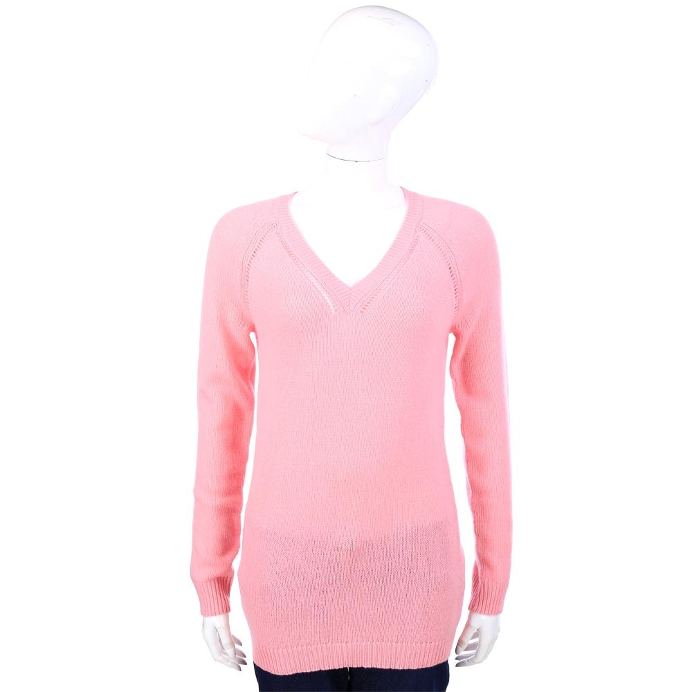 ALLUDE 喀什米爾粉色縷空V領織紋羊毛衫